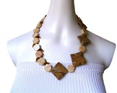 STREAMING PATH Asymmetric river stone nature lover Czech bead geometric necklace