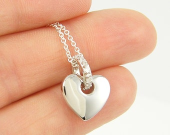 Silver Heart Necklace Rhinestone Heart Necklace Clear Crystal Heart Necklace Sterling Silver Gift for Her Girlfriend Wife Sweetheart |NT1-10