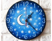 Made to Order The Moon and Stars Blue Wall Clock Home Decor for Children Baby Kid Boy Girl Nursery Playroom