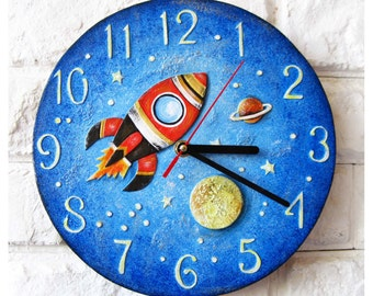 The Red Rocket Wall Clock CUSTOM