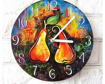 Made to Order Two Bright Pears Wall Clock, OOAK Home Decor for Children Baby Kid Boy Girl Playroom, wood clock, white home decor, kids gift.
