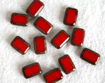 6 Red Picasso Rectangular Window Beads