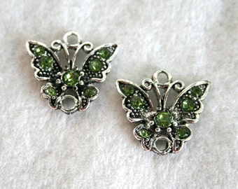 2 Silver Plated Peridot Rhinestone Butterfly Links/Charms/Pendants