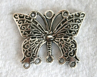 2 Antique Silver 1 to 5 Filigree Butterfly Links/Connectors