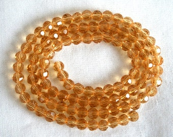 6 mm Sparkly Light Topaz Faceted Crystal Round Beads