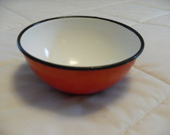 Vintage Enamel on Steel Orange Bowl