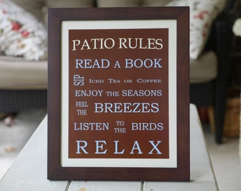 Patio Rules Framed Sign