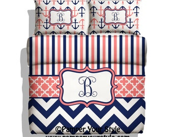 monogrammed nautical anchor bedding hot pink and navy