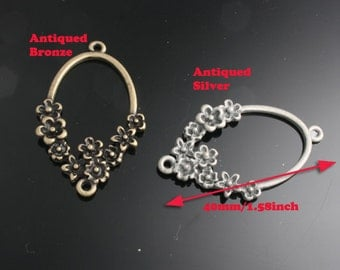 6pcs-40mm Antiqued Bronze,Silver Patina Flower Rings charms,Pendants(A496)