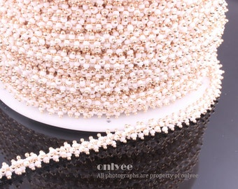 3FT(1yd)- Chain Multe Lacy White Seed Glass Bead, Gold Plated over Brass / 7.6mm(N121G)