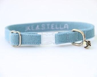 Cat Collar - Light Blue Felt - Adjustable - Optional ID Tag