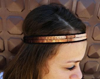 HIPPIE headband SEQUIN rusty headband elastic head band head piece for her, gift for her, gift for girl