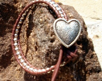 Handmade Brown Leather & Sterling Silver Bead Wrap Bracelet