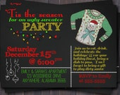 Ugly sweater, Tacky sweater, Christmas Party, Holiday Party, Invitation or Invite Custom.  You Print.  Chalkboard design.  Dirty Santa party