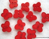 16mm Red Resin Butterfly Buttons 12 Red Butterfly Buttons A94