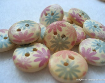 15mm Wood Buttons with Pink Turquoise Flower Print Pack of 15 Wood Buttons W1509