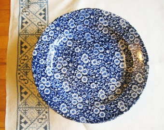 "Six 10"" Dinner Plates - Partial Set of Crownford 'Blue Calico' Pattern From Staffordshire, England - Intricate Blue and White Transferware"