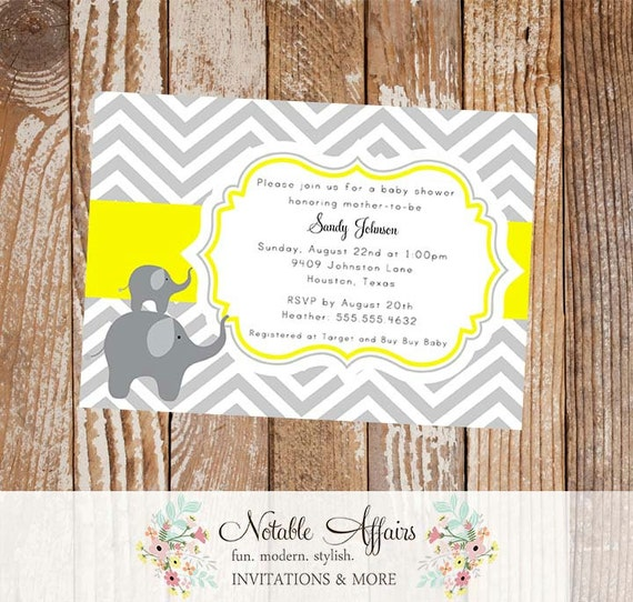 Gray Yellow Elephants Chevron Baby Shower Invitation or Birthday Invitation - Colors and wording can be changed
