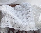 Christening Blanket or Baby Shawl Hand Made Crochet In White