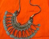 Vtg Huge Antique / Old India Banjara Rajasthan Ethnic tribal gypsy belly dance engraved Silver / Brass tone coins dangle statement necklace