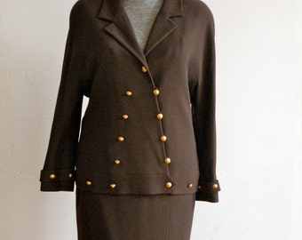 SALE 20 % off CHANEL Brown Wool Crepe Skirt Suit // Gold Button Detail // Military Style