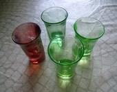 Lot Of 4 Vintage Bar Shot Glasses 3 Depression Glass Green And 1 Cranberry Etched Floral Scene