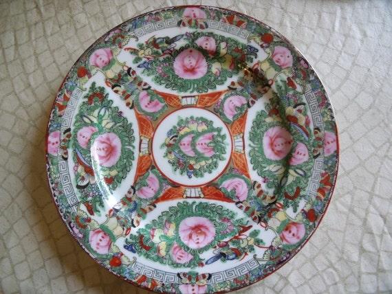 Vintage Ceramic Pottery Plate ROSE MEDALLION Floral Scenes 1920s