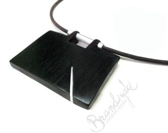 Wooden Necklace - unique handcrafted, exotic black ebony, rosewood, aluminum, 3mm natural leather cord
