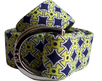 Casino Fabric Belt: Navy and Light Green High Quality D-Ring Belt