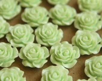 20 pc. Mint Green Glossy Crisp Petal Rose Cabochon 14mm | RES-274