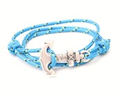 Salt Crew | Turquoise Anchor Bracelet Rope Bracelet Nautical Jewelry Preppy Resort Wear Silver Color