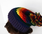 Gay Pride Slouch Hat Hand Crocheted in Purple Green Yellow Red Orange Blue Stripes