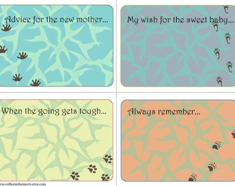 Baby Shower Advice Cards - Safari Animal Footprints - Nature Wishing Tree - digital download printable - Instant Download