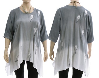 Artsy boho floaty flared  tunic / hand dyed in bluish grey with white / with leaves / lagenlook for plus sized women L XL, US 14-20