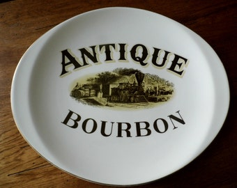 "Heavy, Vintage, Ceramic Promo Platter Advertising ""Antique Bourbon"", Platter for Collectors of Advertising and/or Trains"