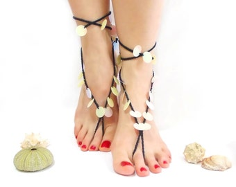 Black Crochet Barefoot sandals, Barefoot Sandles, Black Cream, Nude shoes, Foot jewelry, Wedding, Toe ring, Foot jewelry