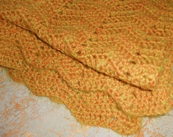 Vintage Shawl, Mustard, Gold, Crochet, Knitted,  Rectangle, Wrap Around