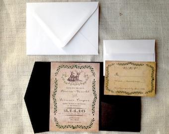 Pocket fold wedding invitation/Pocketfold wedding invitation/Deer wedding invitations/Rustic Vintage wedding invitation/Western wedding