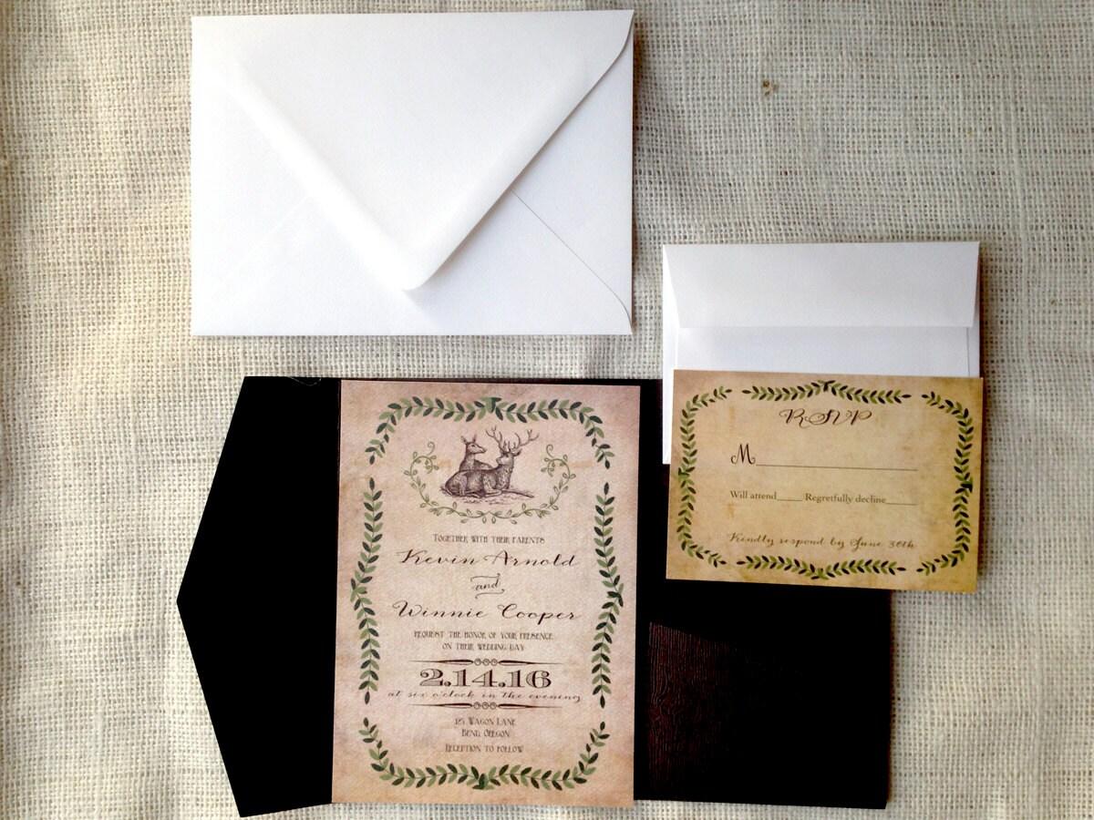 Rustic Western Wedding Invitations: Deer Wedding Invite. Rustic Vintage Wedding Invitation