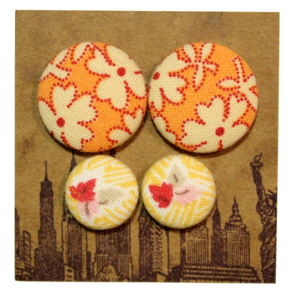 Fabric Button Earrings / Wholesale Jewelry / 2 Pairs / Gifts for Her / Orange and Yellow / Stud Earrings / Clearance