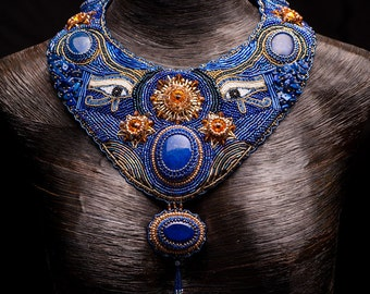 750 POUNDS OFF Original Price - Egyptian Bead Art Embroidery Necklace with Lapis Lazuli Gemstone Cabochons and Swarovski Crystals