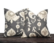 """26"""" Charcoal Grey Ikat Pillow Set - Set of 26 x 26 Inch Neutral Pillow Covers - Charcoal Grey, Cream and Light Grey - TWO PILLOW COVERS"""