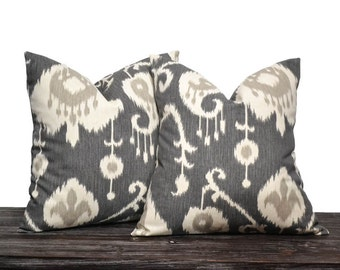 "26"" Charcoal Gray Ikat Pillow Set - Charcoal Grey, Cream and Light Grey - Gift for Her - Wedding Gift - Large Pillow Covers - Euro Pillows"