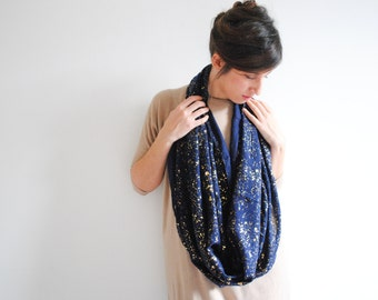 Blue Gold Infinity Scarf Galaxy Loop Scarf Circle Scarf Infinity Nursing Scarf Women Scarves - Galaxy scarf - Christmas Present
