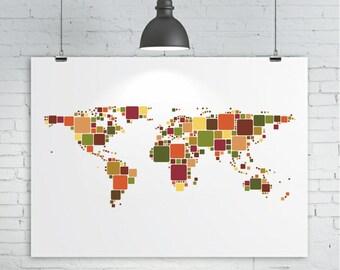 World Map Print A Tetris Inspired Map of the World Map Art