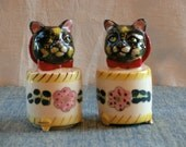 Cats in a Can... Anthropomorphic Salt and Pepper Shakers, Calico Cat Heads Resting on Footed Pedestal, Made in Japan, 1940s, 1950s