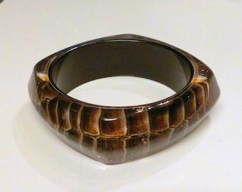 Vintage Snake Print Resin Bangle Bracelet