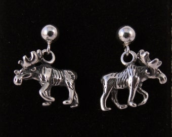 Sterling  Silver Moose Earrings - Free Shipping in the US - 1367
