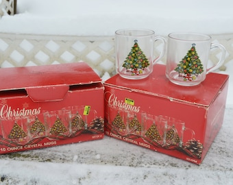 Christmas by Carlton Crystal Mugs, Only 1 Box of 4