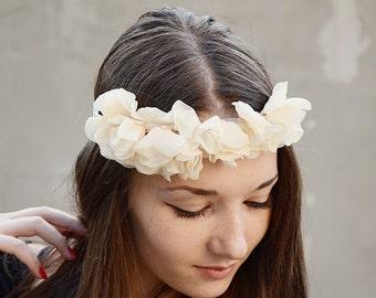Beige fabric bridal headband, wedding hair accessory, bridal headpiece,Tie headband, flower crown, flower headband, boho headband, bohemian